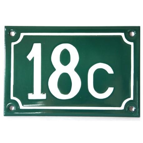 Numéro de rue  émaillé 10 x 15 cm vert - Numero 18c