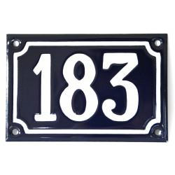 Numéro de rue  émaillé 10 x 15 cm bleu - Numero 183