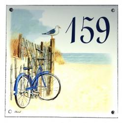 Numéro de rue  émaillé 15 x 15 cm  Vélo - Numero 159