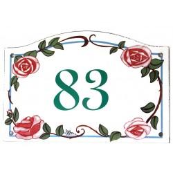 Numéro de rue  émaillé roses - Numero 83