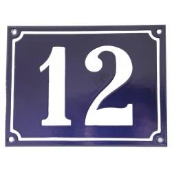 Numéro de rue  émaillé 15 x 20 cm bleu - Numero 12