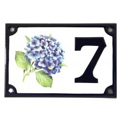Numéro de rue  émaillé 10 x 15 cm Hortensia - Numero 7