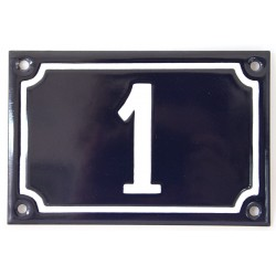 Numéro de rue  émaillé 10 x 15 cm bleu - Numero 1