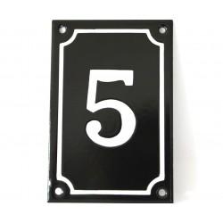 Numéro de rue  émaillé 10 x 15 cm noir vertical - Numero 5
