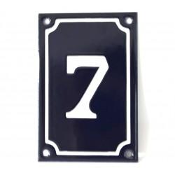 Numéro de rue  émaillé 10 x 15 cm bleu vertical - Numero 7