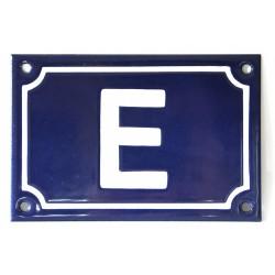 Numéro de rue  émaillé 10 x 15 cm bleu - lettre E