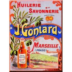 Plaque métal publicitaire 15x20cm plate : Huilerie et Savonnerie J. Gontard.