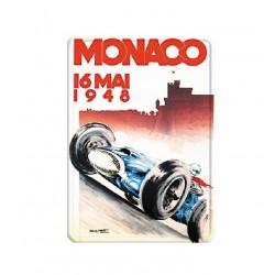 Plaque métal publicitaire 15x21cm bombée :  MONACO 1948