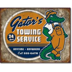 Plaque métal publicitaire 30x40cm plate : Gator's towing service