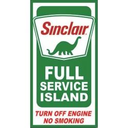 Plaque métal  publicitaire 21x40cm plate : SINCLAIR FULL SERVICE ISLAND
