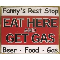 Plaque métal publicitaire 30x38cm plate : FANNY'S REST STOP