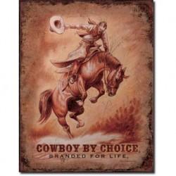 Plaque métal publicitaire 30x40cm plate : COWBOY BY CHOICE