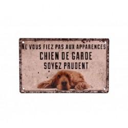 Plaque métal humoristique 9x15 cm plate : CHIEN DE GARDE