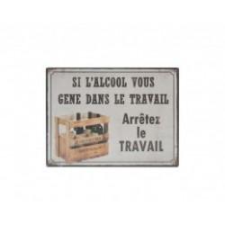 Plaque métal humoristique 15x20cm plate : si l'alcool