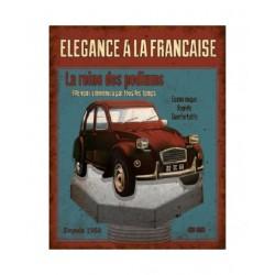 Plaque métal  22x28cm plate : ELEGANCE A LA FRANCAISE