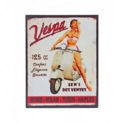 Plaque métal  22x28cm plate :  VESPA 125 cc
