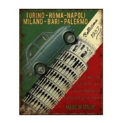Plaque métal  22x28cm plate :   FIAT Bellisima 1957