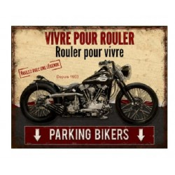 Plaque métal  22x28cm plate :  PARKING BIKERS