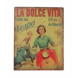 Plaque métal  22x28cm plate :  VESPA La Dolce Vita