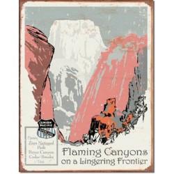 Plaque métal publicitaire 30x40cm plate : Flaming Canyons