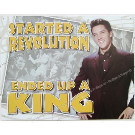 Plaque métal publicitaire 30x40cm plate : Elvis Presley Started a revolution