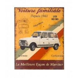 Plaque métal  22x28cm plate :  4L - VOITURE FAMILIALE