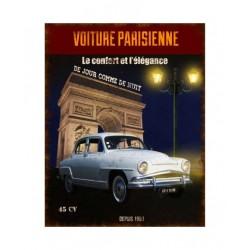 Plaque métal  22x28cm plate :  VOITURE PARISIENNE