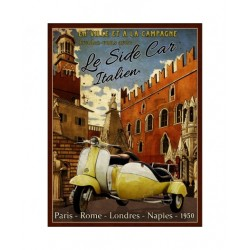 Plaque métal  22x28cm plate : LE SIDE CAR ITALIEN