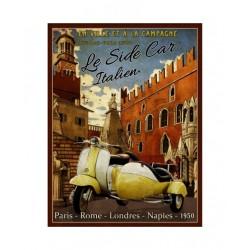 Plaque métal  22x28cm plate : LE SIDE CAR ITALIEN