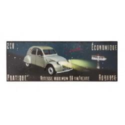 Plaque métal  45x16cm plate :  2 CV Route de nuit
