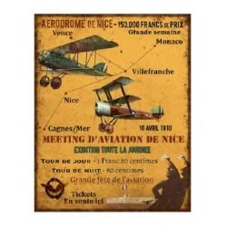 Plaque métal  36x28 cm plate :  MEETING D'AVIATION NICE
