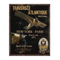 Plaque métal  36x28 cm plate :  Traversée Atlantique