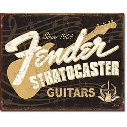 Plaque métal publicitaire 30x40cm plate : Fender Stratocaster guitars