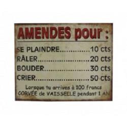 Plaque métal  25x20cm plate : AMENDES pour ...