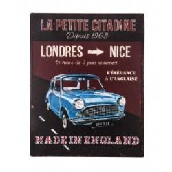 Plaque métal  22x28cm plate : LA PETITE CITADINE