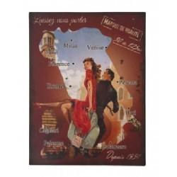 Plaque métal  25x33cm plate : Carte d'Italie