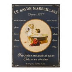 Plaque métal  25x33 cm plate : LE SAVON DE MARSEILLE