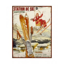 Plaque métal  25x33 cm plate : STATION DE SKI