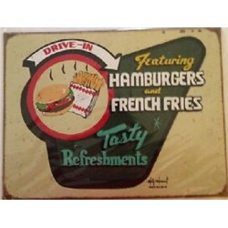 Plaque métal publicitaire 30x40cm plate : HAMBURGERS AND FRENCH FRIES