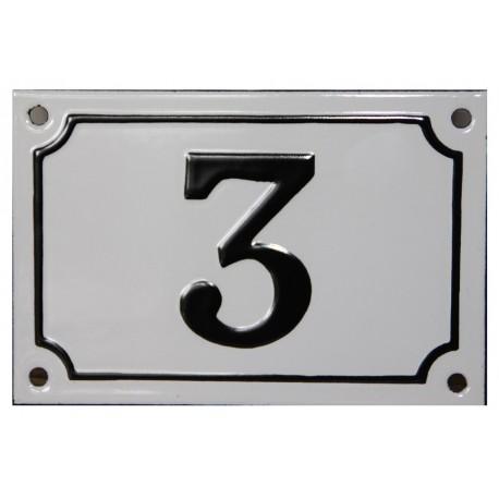 Numéro de rue  émaillé 10 x 15 cm blanc - Numero 3