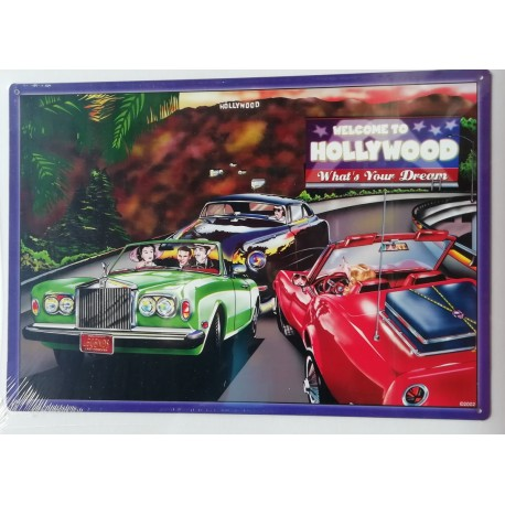 Plaque métal publicitaire 42x30cm plate : WELCOME TO HOLLYWOOD