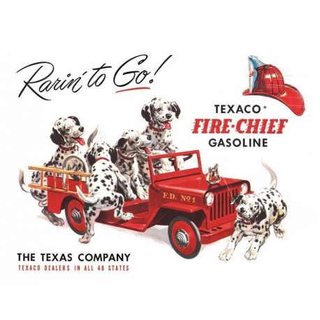 Plaque métal publicitaire 40x30cm plate : TEXACO FIRE-CHIEF GASOLINE