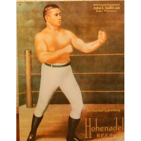 Plaque métal publicitaire 29x41cm plate : JOHN L.SULLIVAN