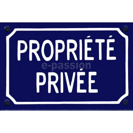 Plaque de rue émaillée 10x15cm bleue avec défaut : PROPRIETE PRIVÉE.