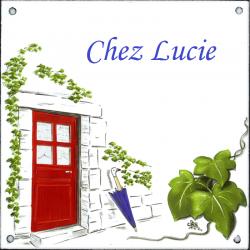 Plaque émaillée 15 x 15 cm : Décor La Porte Rouge