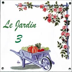 Plaque émaillée 15 x 15 cm : Décor Brouette