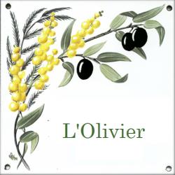 Plaque émaillée 15 x 15 cm : Décor Branche d' Olivier