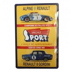 Plaque métal publicitaire bombée relief  20 x 30  cm : R8 /  Alpine