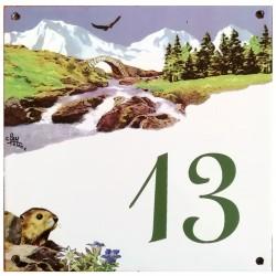 Numéro de rue  émaillé 15 x 15 cm  Montagne  Numéro 13 avec défaut