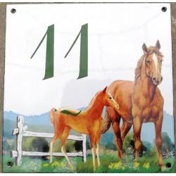 Numéro de rue  émaillé 15 x 15 cm  Cheval - Numero 11